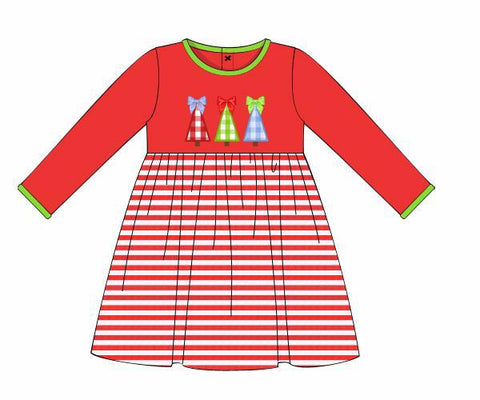 Knit Applique Christmas Tree Dress