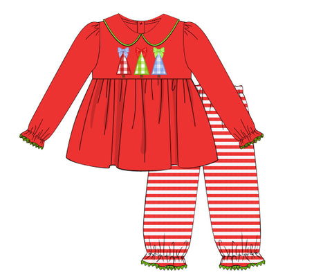 Aplique Knit Christmas Trees Girls bubble pants set