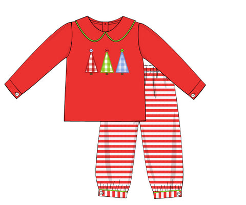 Knit Applique Christmas Trees Boys Bubble Pants Set