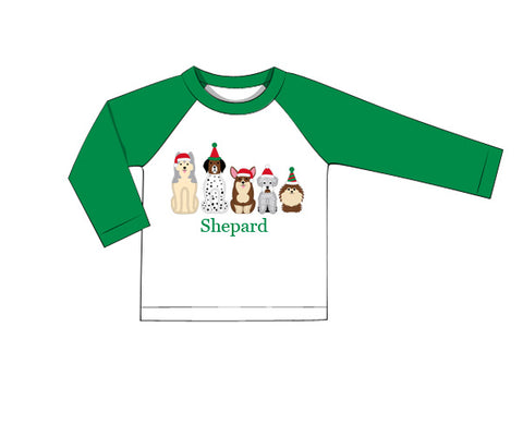 Christmas Puppies Party Appliquéd Raglan Tee