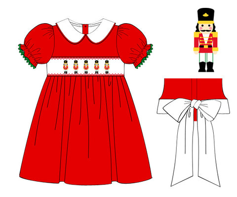 Red Smocked Nutcracker dress