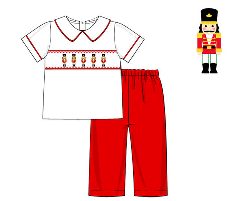 Boys Smocked Nutcracker Collared Pants Set