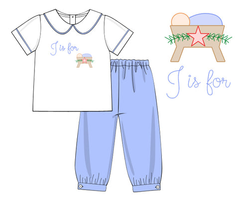 Hand Embroidered J is for Jesus Bubble Pants Set