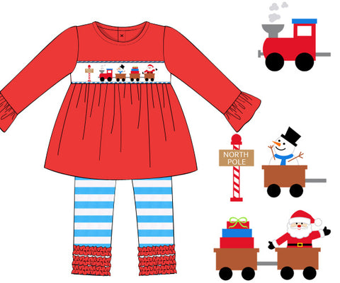 Smocked knit Santa Christmas train with striped ruffled pants set