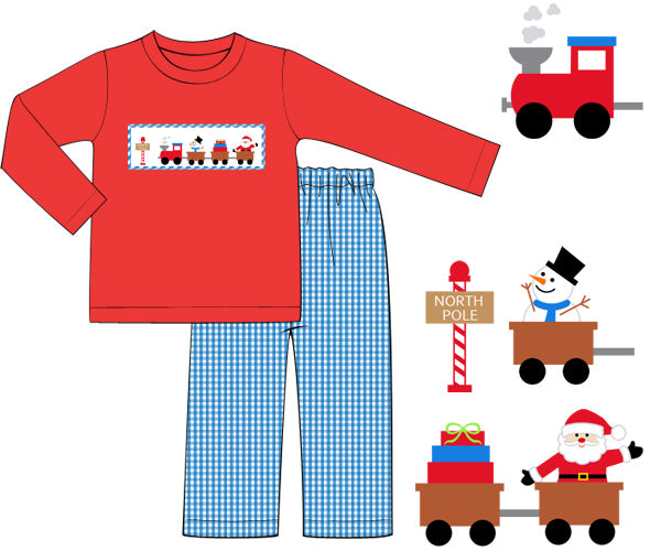 Smocked Santa Train Boys Pants Set