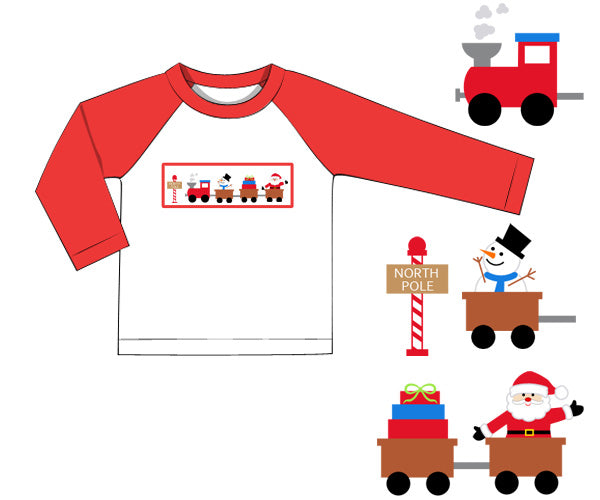 Smocked Santa Train Raglan Tee