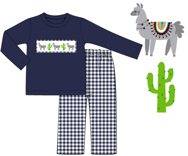 Boys Smocked Llama Llama Pants Set