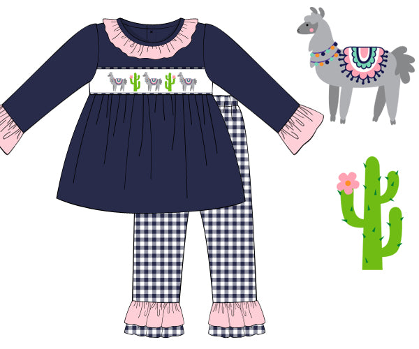 Smocked Llama Llama Girls Pant Set