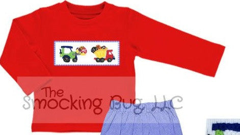 Boys Red Long Sleeved Knit Smocked Construction Sports Shirt, Boys Shirt, The Smocking Bug, The Smocking Bug