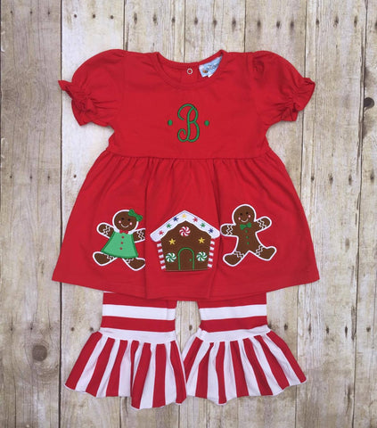 Girls Red Knit Monogrammable Gingerbread Ruffle Pants Set