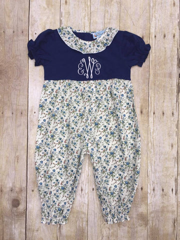 Girls Blue Floral Long Bubble