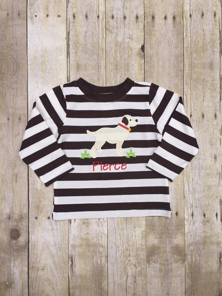 Boys Brown Striped Monogrammable Dog Shirt, Boys Applique Shirt, The Smocking Bug, The Smocking Bug