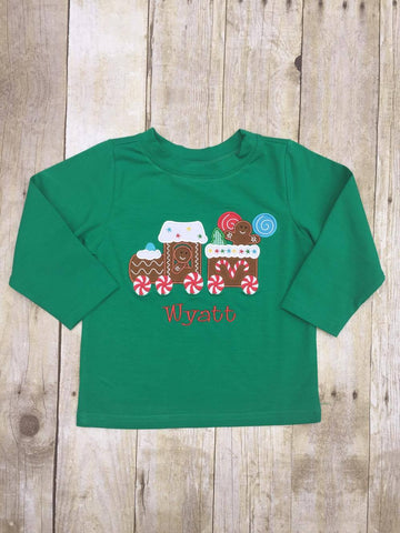 Boys Green Monogrammable Gingerbread Train Shirt Only