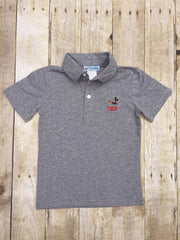 Grey Monogrammable Mallard Embroidered Polo Shirt, Shirt Only, The Smocking Bug, The Smocking Bug