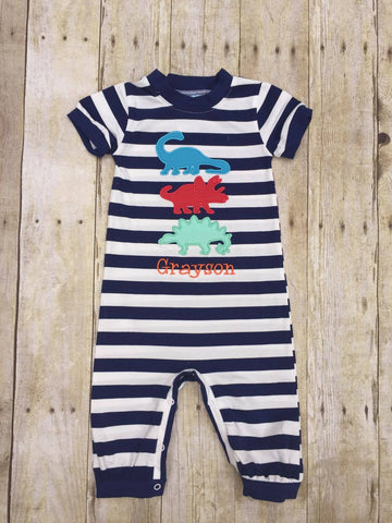 Boys Knit Navy Striped Monogrammable Dinosaur Romper
