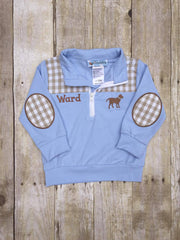 Light Blue Monogrammable Pullover w/ Khaki Gingham Patches & Lab Embroidery