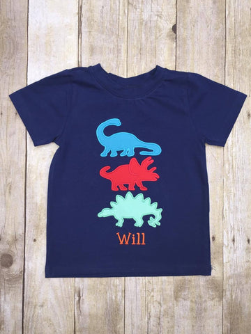 Boys Navy Monogrammable Dinosaur Applique Shirt Only