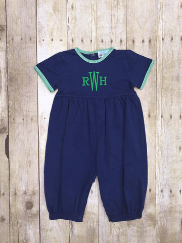 Boys Navy Monogrammable Romper w/ Green Gingham Trim