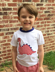 White Short Sleeved Monogrammable Dinosaur Shirt