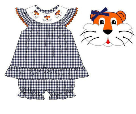 Navy Gingham Smocked Tiger Bishop Bloomer Set