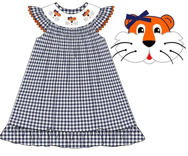 Navy Gingham Smocked Tiger Bishop Dress