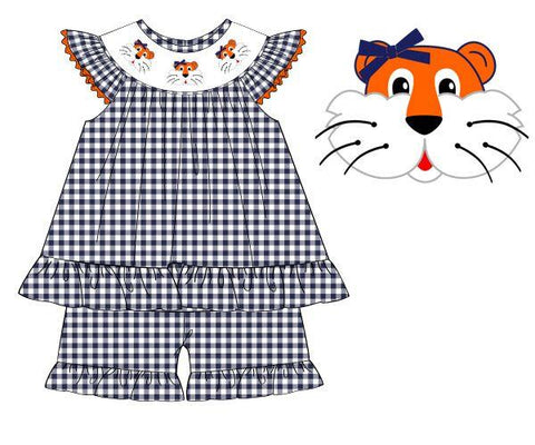 Navy Gingham Smocked Tiger Bishop Ruffle Shorts Set