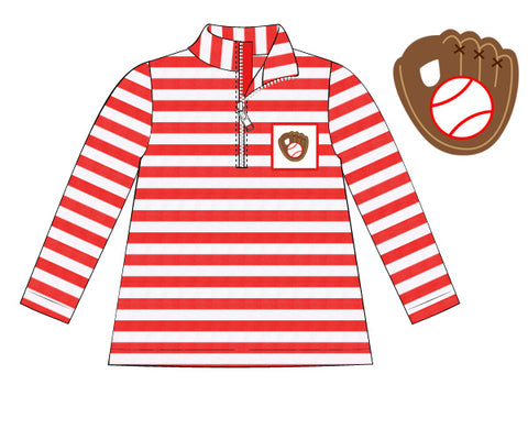 Red Striped Knit Pullover with Smocked Baseball