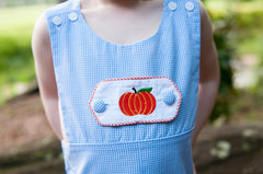 Pumpkin Embroidered Tab, Tabs, The Smocking Bug, The Smocking Bug