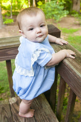Light Blue Heirloom Boys Bubble with White Lace and Trim