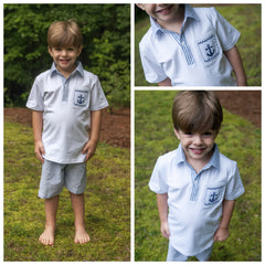 Smocked Anchor Polo Shirt and Navy Seersucker Shorts Set