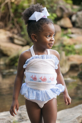 Smocked Whales 1 Piece Swimsuit