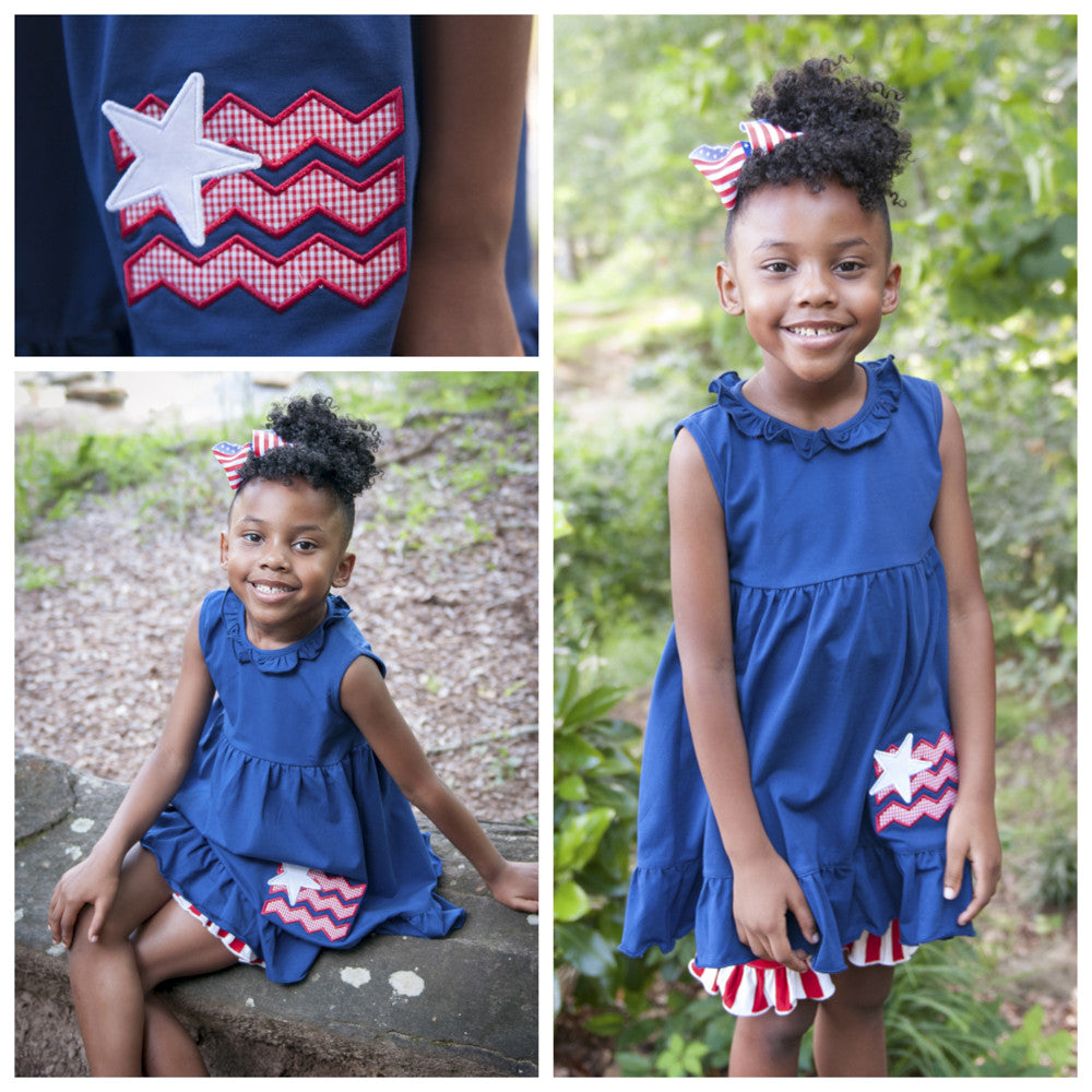 Girls Navy Knit Patriotic Appliquéd Tunic Top and Red Striped Knit Ruffle Shorts
