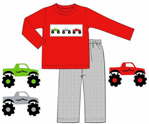 Boys Red Knit Smocked Monster Trucks Shirt and Grey Gingham Pants Set