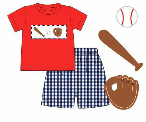 Boys Red Smocked Baseball Shirt & Large Navy Gingham Shorts