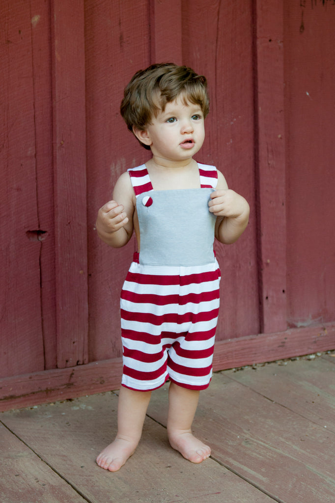 Grey & Crimson striped knit monogrammable jon jon, Boys Jon Jon, The Smocking Bug, The Smocking Bug