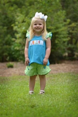 Girls Turquoise Smocked Seahorses Shirt & Lime Gingham Button Shorts