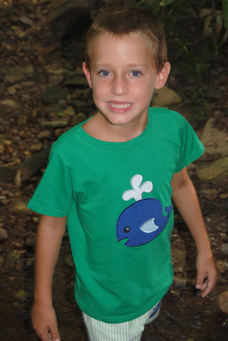 Boys Green Short Sleeved Navy Whale Applique Shirt