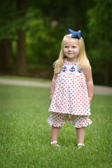 Red Polka Dotted Smocked Anchor Swing Top & Ruffle Shorts Set, girls shorts set, The Smocking Bug, The Smocking Bug