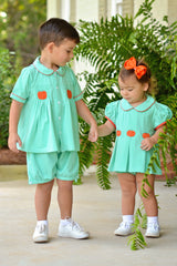 Mint Knit Embroidered Pumpkins Banded Shorts Set