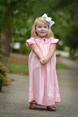 "Pink Smocked ""The Doc is In"" Angel Sleeve Dress, dress, The Smocking Bug, The Smocking Bug"