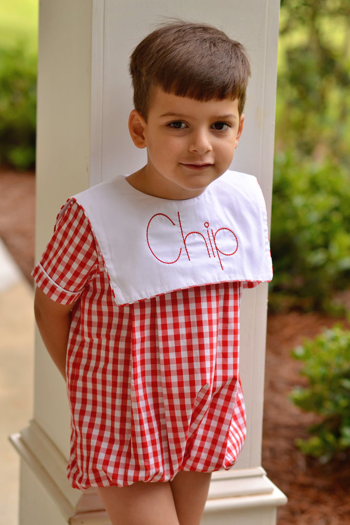 Lg. Red Gingham Classic Square Collar Monogrammable Boys Bubble, Boys Bubble, The Smocking Bug, The Smocking Bug