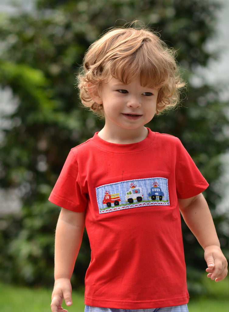 Red Smocked Rescue Vehicles Shirt, Boys Shirt, The Smocking Bug, The Smocking Bug