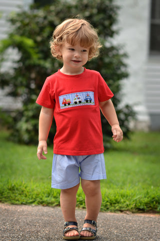 Red Smocked Rescue Vehicles Shirt & Blue Gingham Shorts Set