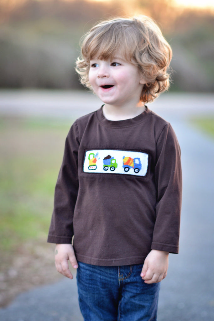 Brown Smocked Construction Vehicles Shirt, smocked shirt, The Smocking Bug, The Smocking Bug