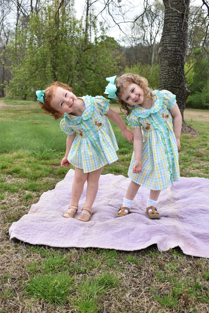 Vintage Length Button Down Smocked Bunnies Dress with Mint Ruffles