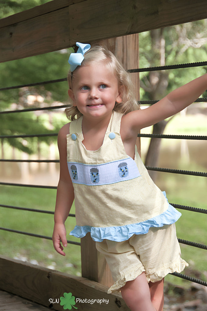 Girls Yellow Gingham Smocked Catchin' Fireflies Cross Back Top & Ruffle Shorts Set, girls smocked shorts set, The Smocking Bug, The Smocking Bug