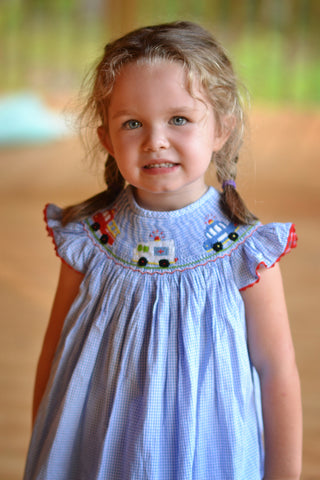 Blue Gingham Smocked Rescue Vehicles Ruffle Shorts Set