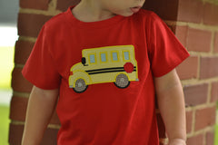 Red Schoolbus Applique T-Shirt, shirt, The Smocking Bug, The Smocking Bug