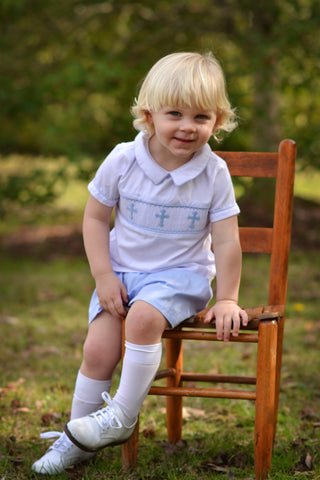 Blue Smocked Crosses White Collared Shirt and Blue Shorts Set
