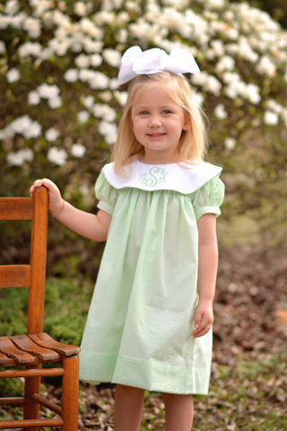 Light Lime Seersucker Monogrammable Dress